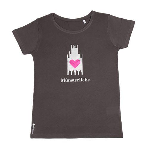 T-Shirt Münsterliebe Damen Rundhals dunkelgrau